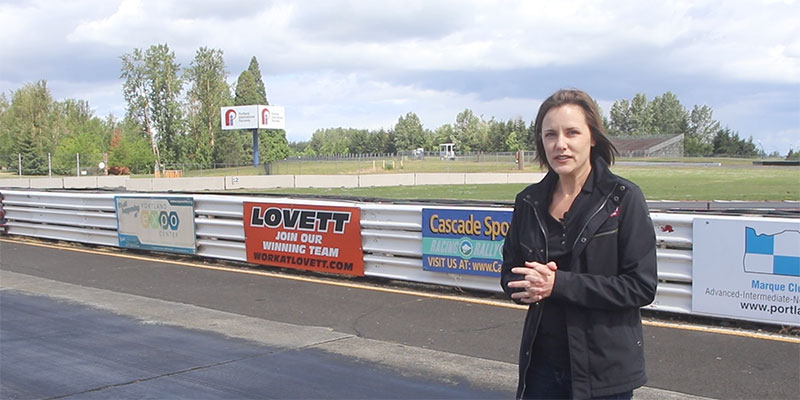 Kristen Moore on the race track